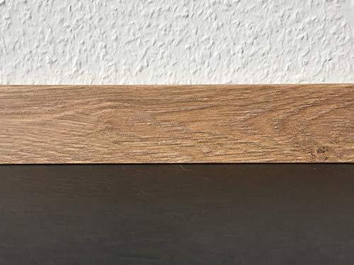 Sockelleisten mit Nut in Eiche Akzent | Fußleisten mit MDF-Kern | Fußbodenleisten in den Maßen 2,4m x 5,8cm | Wandabschlussleiste mit rückseitiger Clipfräsung & geradem Abschluss | MADE IN GERMANY