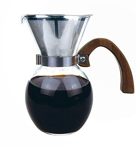 バンブーブラウンハンドル付きコーヒーサーバー Bamboo Coffee Server 5cup (650ml) 珈琲オイルもしっかり抽出オールステンレス極細ダブルメッシュフィルターセット
