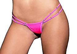 Neon Pink Strappy Side Jeweled Thong