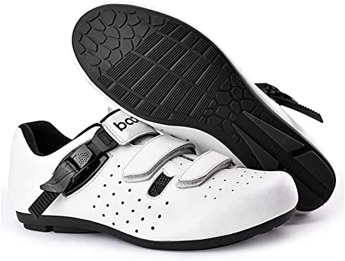 KUXUAN Men's Cycling Shoes,Lock-Free Cycling Shoes Winter Men's and Women's Road and Mountain Sports Shoes Bicycle Booster Shoes/Soles-Rubber Hard Sole,White-40EU