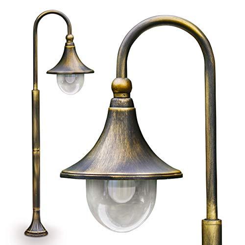 Buitenlamp Elgin, vloerlamp in antieke look, metaal in bruin/goud, met kunststof lampenkap, padlamp 120 cm, retro/vintage tuinlamp, E27 stopcontact, max. 60 Watt, IP44