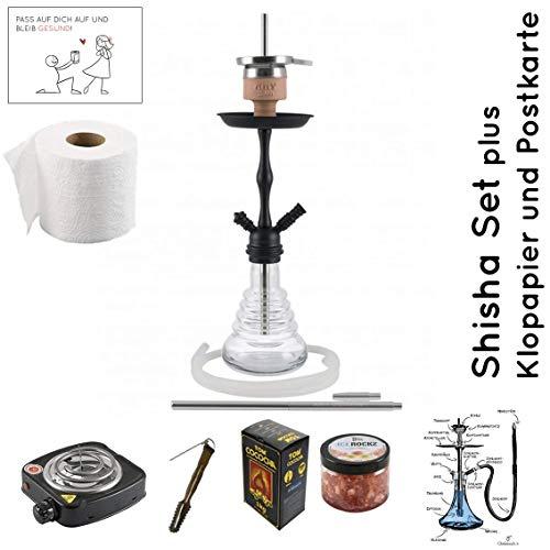 Amy Deluxe Shisha Set mit Shisha Stillness klick II, Kohleanzünder, Naturkohle, Kaminkopf, Dampfsteine (Clear/Schwarz-Matt)