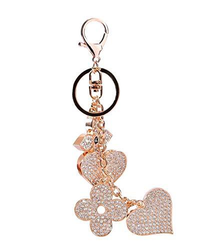 Sucolin Mode Bijoux Trèfle à Quatre Feuilles et Coeur Porte-clés en Cristal Sac Ornements Voiture Porte-clés Or