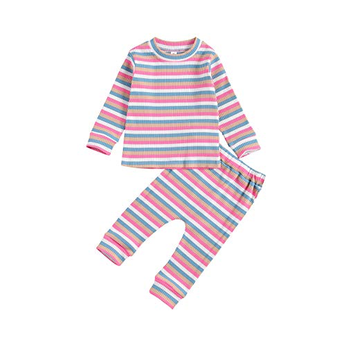 LUCSUN Conjunto de pijama de manga larga con cuello redondo a rayas, pantalones largos, 2 unidades