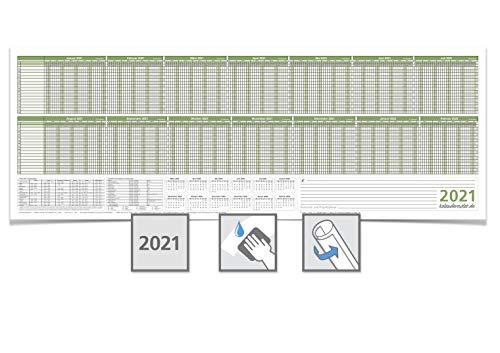 Personalplaner/Urlaubsplaner 2021, feucht abwischbar 118,8 x 42,0 cm für 16 Mitarbeiter grün