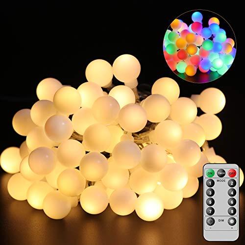 Patomos Globo Guirnalda de luces con pilas, 10 m, 60 LED, con mando a distancia, luces de globo con luz blanca cálida y multicolor (2 en 1)