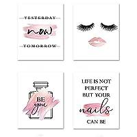 キャンバスプリントフラワーウォールアート香水ファッション引用絵画メイクアップアートワークポスターマニキュア画像モダンガールルームの装飾-50x70cmX4フレームレス