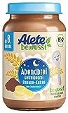 Alete bewusst Bio Abendbrei-Gläschen Getreidebrei Banane-Kakao, ab dem 8. Monat, 6er Pack (6 x 190 g)