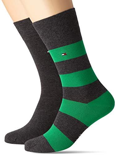 Tommy Hilfiger Herren TH MEN RUGBY 2P Socken, Mehrfarbig (Blackgreengrey 284), 43/46 (Herstellergröße: 043) (2er Pack)