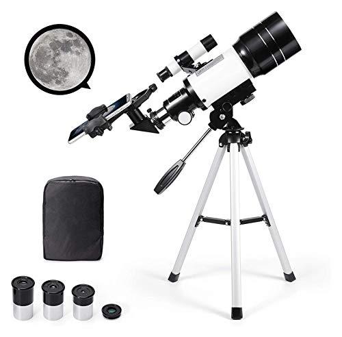 TSYFFF Telescopio astronómico Espacial Zoom 150X HD Telescopio Espacial monocular Refractor de Ciencia educativa con trípode 300/70 mm Alcance de detección para niños Principiantes