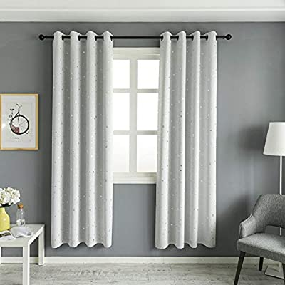 MANGATA CASA Printed Blackout Curtains with Grommets for Bedroom, Geometric Trellis Darkening Window Drapers for Living Room
