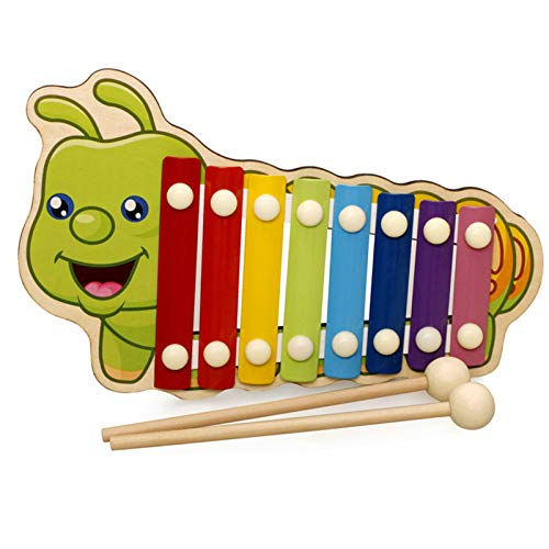 Lood Juego de instrumentos musicales para bebé, xilófono, madera de 8 tonos en la mano del piano, figura de animales de dibujos animados coloridos golpeando el reproductor de música para niños y bebés