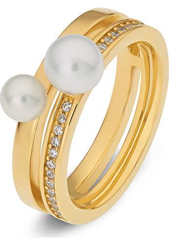 JETTE Silver Damen-Damenring 925er Silber 23 Zirkonia 59 Gold 32011604