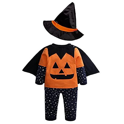 TMOYJPX Disfraz Bebe Halloween Fotos 9-24 meses 2-3 aos - 4pcs Ropa Bebe Nio Nia Calabaza Top + Pantalones + Capa + Sombrero de Bruja, Conjunto Bebes Otoo Invierno (Calabaza, 2-3 aos)
