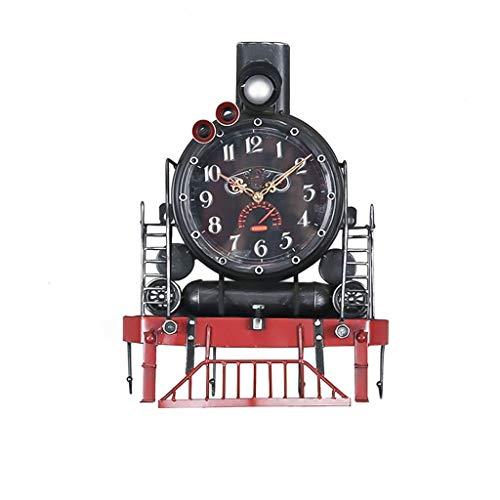 Relojes para Pared de Sala de Estar, decoración de Reloj de Pared de vía de Tren de Locomotora de Vapor de Estilo Vintage