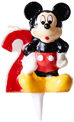 dekora 346142 Vela de Cumpleaños Mickey Mouse Numero 2, Cera, Multicolor, 6.5