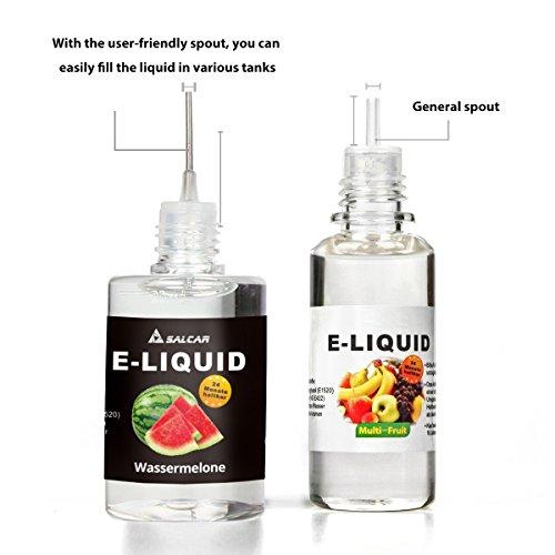 Salcar E-Liquid für E-Zigarette (0,0 mg Nikotin) 12er Pack (12 x 10 ml) Apple, Pineapple, Banana, Blueberry, Orange, Peach, Grape, Watermelon, Cherry, Kiwi-smoothie, Grüner tee, Kaffee