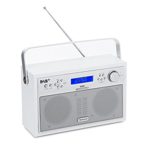 auna Akkord Digitalradio Kofferradio (DAB+/UKW-Tuner mit RDS, portabel, 20 Senderspeicherplätze, Alarm/Wecker Funktion, LCD-Display) weiß
