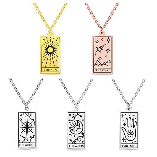 Collier Tarot personnalisé, sculpture personnalisée astrologie divination charme pendentif soleil / lune / étoiles / richesse / monde Tarot cadeau féminin