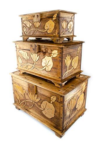 FaHome Holz Truhe Blume Verzierung 40-60cm, Schatztruhe, Schatzkiste, Box, Holzbox, Schnitzerei Braun (58)