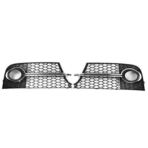 EBXH Fog Light Barbecue, para Audi TT MK2 S-Line TTS 2011-2014 8J0807681KT94 8J0807682KT942X Cubierta de lámpara Delantera del Coche Hex Grille,Plata