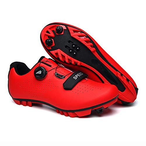 UYBAG Cycling Spinning Shoe Lightweight Mountain Bike Cycle Shoes with Adjustable Rotating Buckle and Velcro Strap 1 Pair Anti-Skid Road Shoes Best Gift for Family and Friends,Red,40