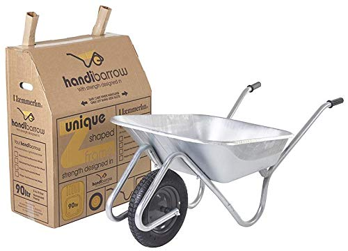Wheelbarrow 90L Galvanised Pneumatic, Product Range Haemmerlin - Handibarrow Wheelbarrows, Materials Handling