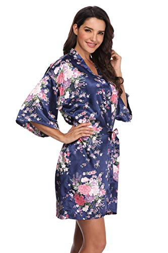 Women's Floral Bride Bridesmaids Robe Satin Wedding Kimono Bridal Dressing Gown Sleepwear, Navy, S/M