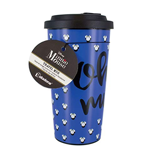 Disney Minnie Mouse Travel Mug | Reuseable Commuter Cup | Insulated Coffee & Tea Flask | Easy Clean | Double Walled Insulation | 450ML Capacity | Spill Proof