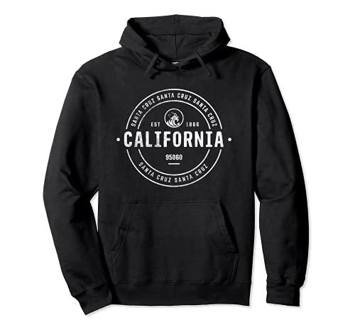 California Santa Cruz Vintage Retro Surfer Beachwear Wave Sudadera con Capucha