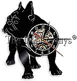 WJUNM 1 Pieza Bulldog francés Perro Disco de Vinilo Reloj de Pared Mascota Bulldog francés Reloj de Pared Animal muralista decoración del hogar Regalo de Amante de Perro
