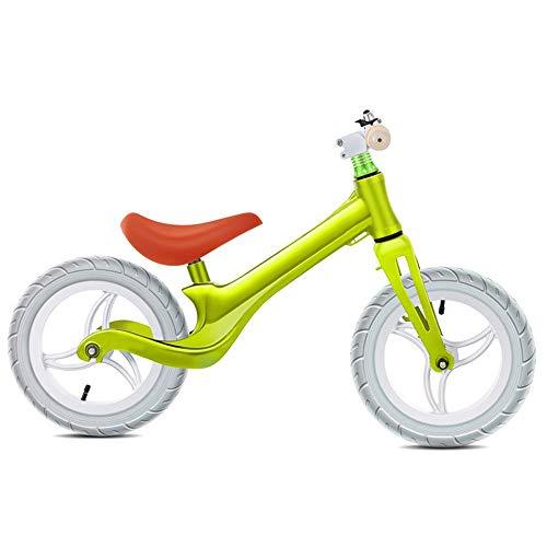 YumEIGE Loopfiets voor kinderen, magnesiumlegering, balance-fiets, 2,2 kg belasting, 50 kg, wielen voor kinderfiets, luchtbanden van 2-8 jaar oud cadeau groen