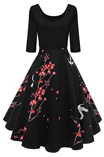 Axoe Damen A-Linie Kleid 60er Jahre Rockabilly mit Blumenrock 3/4 Ärmel Gr.36, Farbe 3, L (42 EU)