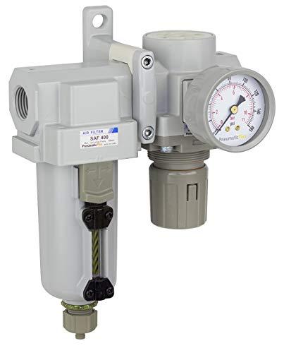 PneumaticPlus SAU420-N04G-MEP Compressed Air Filter Regulator Combo 1/2' NPT - Metal Bowl, Manual Drain, Bracket, Gauge