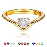 ChicSilver ダイヤモンド ハート 指輪 レディース フリーサイズ 4月 誕生石 リング ゴールド 18金 シンプル v字 アクセサリー