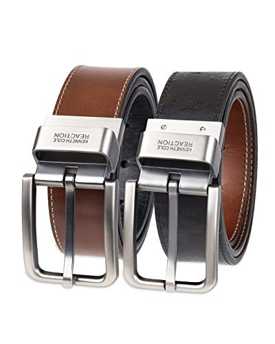 Kenneth Cole REACTION Men's Reversible Comfort Stretch Casual Belt, Oil Tanned Black/Brown, 36