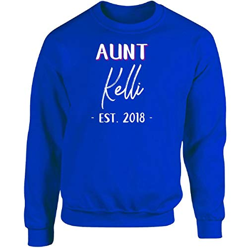 Aunt Kelli Est. 2018 New Auntie Gift Announcement - Sudadera para adulto, Royal, XXXXX-Large