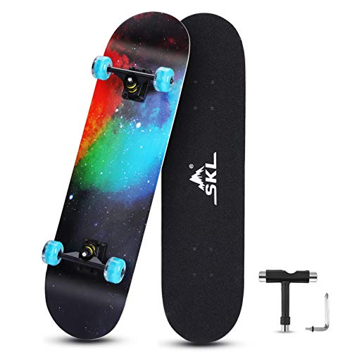 SKL Skateboards 31x8 Complete Skate Board with Colorful Flashing Wheels for Kids Teens Adults