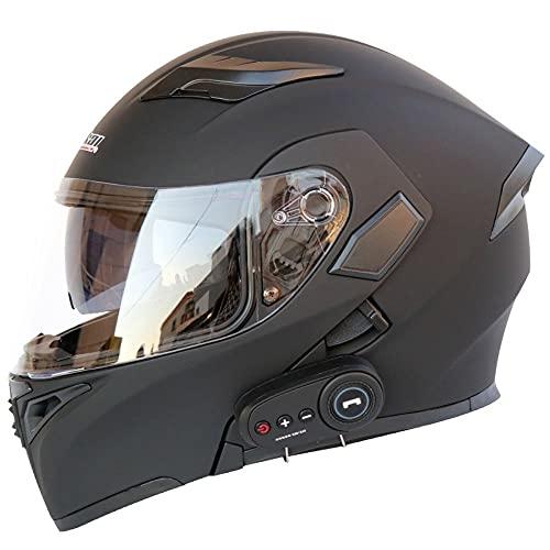 BCCDP Motorradhelm Klapphelm Mit Bluetooth - Klapphelm Motorrad Herren - RollerHelm Bluetooth-Helm Mit Doppelvisier, ECE Genehmigt Motorradhelm Für Damen Und Herren M~XXL