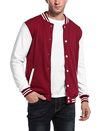 COOFANDY Mens Slim Fit Varsity Baseball Jacket Bomber Cotton Premium Jackets Burgundy