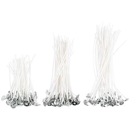 Ideen mit Herz Kerzendochte | 3 verschiedene Größen: 9 cm, 15 cm, 20 cm | 150 Stück, je 50 Stück pro Größe | gewachste Baumwolle | Idealer Helfer für Kerzen gießen, bzw. Kerzen selber machen