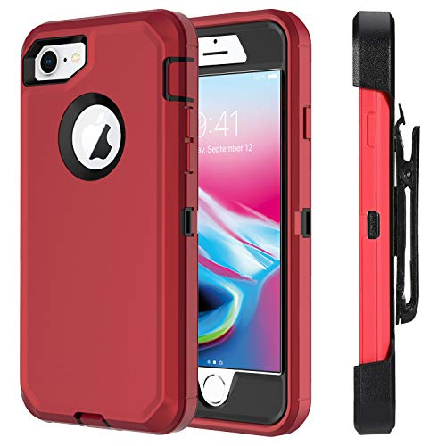for iPhone 7 Case iPhone 8 Case Full Protective Anti-Scratch Resistant Cover case for Apple iPhone 7 & iPhone 8 with Holster Belt Clip Stand Cover and Built-in Screen Protector