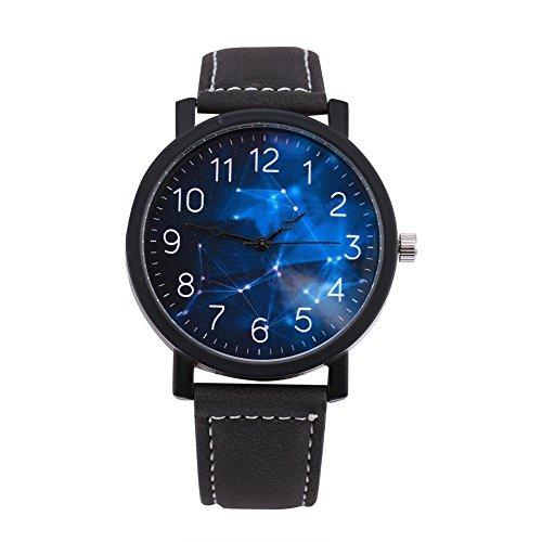 Reloj Redondo de Moda y Simple con la Caja de la Aleación de la Correa de la PU Reloj Grande del Dial de los Números árabes con el Cuarzo Análogo para 4 Tipos Unisex(A)