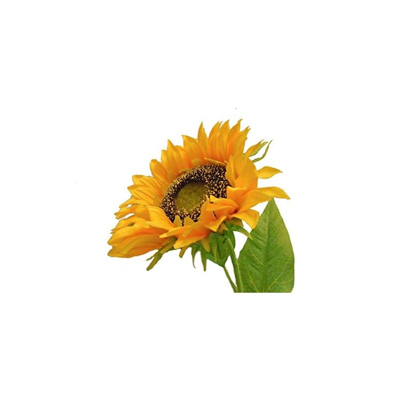 """silk flower arrangements yellow orange giant sunflower spray artificial silk flower 29"""" stem 1329yl"""