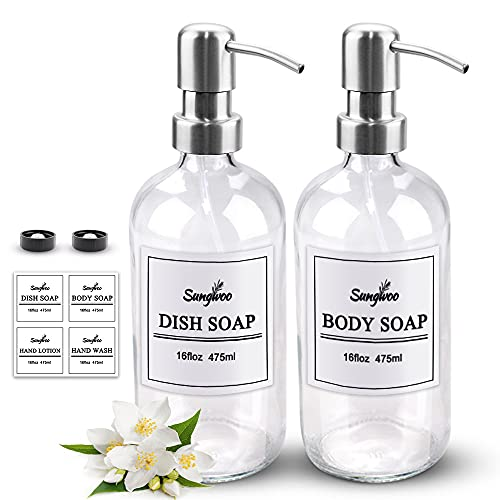 sungwoo 2 Pack Hand Soap Dispenser, 16 oz Glass Soap Dispenser with Stainless Steel Pump Great for Essential Oils, Lotions, Liquid Soaps