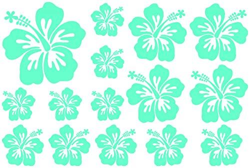 Samunshi® Hibiskus Aufkleber Creativ-Set Hibiskusblüten in 5 Größen und 25 Farben (30x20cm Mint)