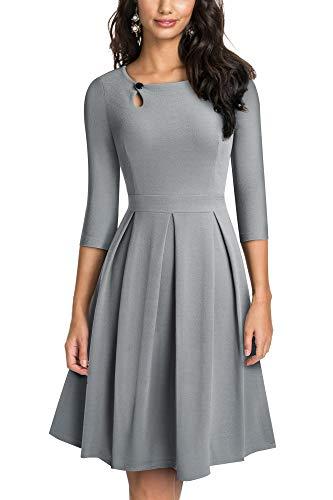 HOMEYEE Vestido de cóctel Plisado Acampanado con Cuello Redondo Vintage para Mujer A223 (L, Gris)