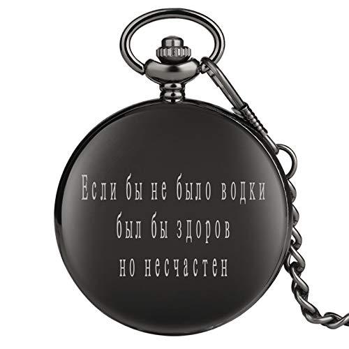 LLXXYY Vintage Vrouwen Mannen Voor Ketting Pocket Horloge Unisex, Novelty Russische Klassieke Spreuk Gegraveerd &Quot;Als er geen wodka, Het zou gezond maar ellendig &Quot; Quartz Pocket Horloge Ch