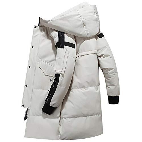 ERFHJ Rusland winterjas voor heren, dik, modieus, voor heren, eendenjas, wit, winterjas met capuchon