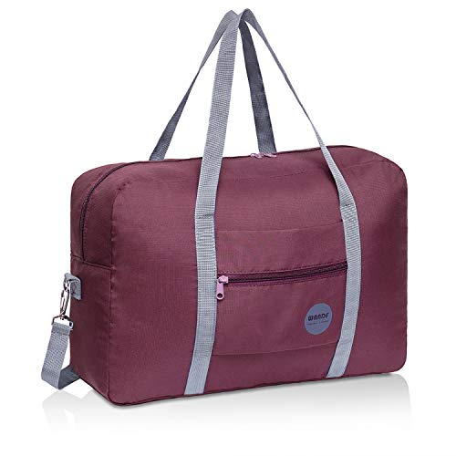 Wandf Foldable Travel Duffel Bag Luggage Sports Gym Water Resistant Nylon (A-Wine Red)